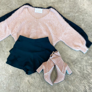 Fuzzy Bubble Sleeve Sweater