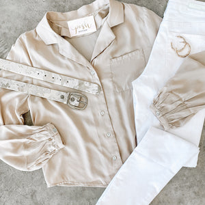 Satin Button Down