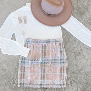 Think Pink Plaid Skirt