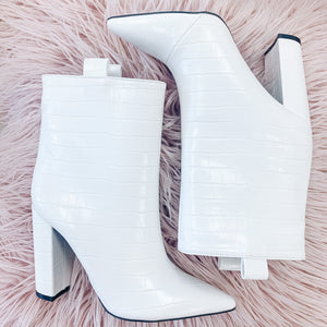 White Textured Booties