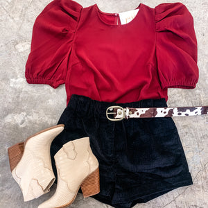 Burgundy Puff Sleeve Top