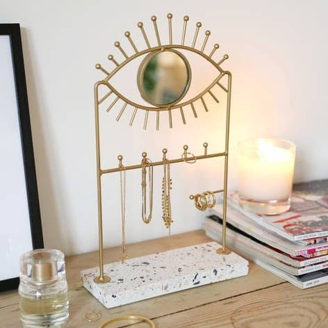 Eye Mirror And Jewellery Holder With Terrazzo Base