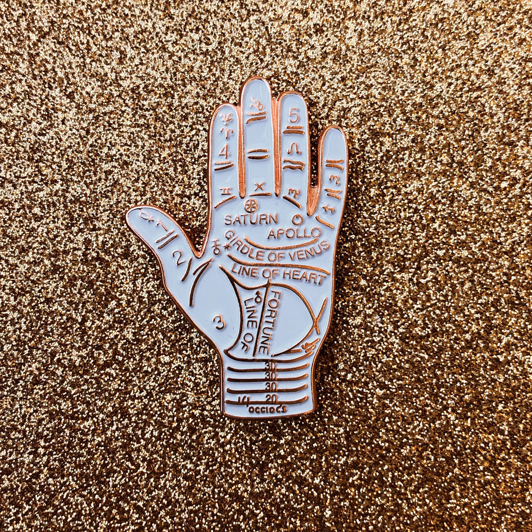 Palmistry Pin - Rose Gold & White