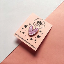 Pink Sparkle Heart Soft Enamel Pin