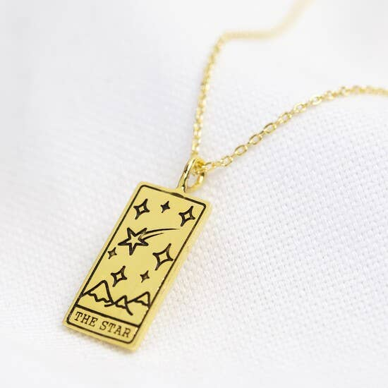 Gold The Star Tarot Card Pendant Necklace