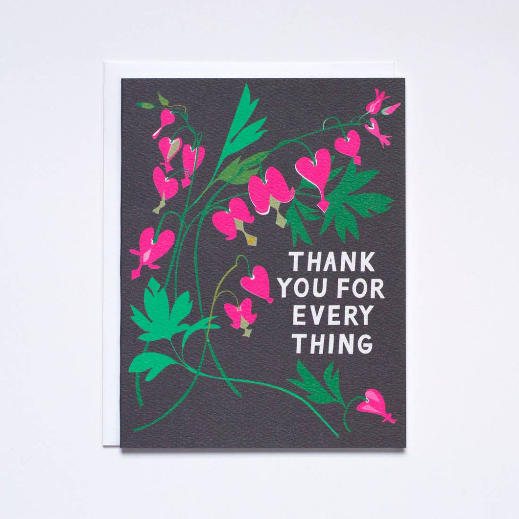 Bleeding Heart Floral Bouquet - Thank YOU Note Card