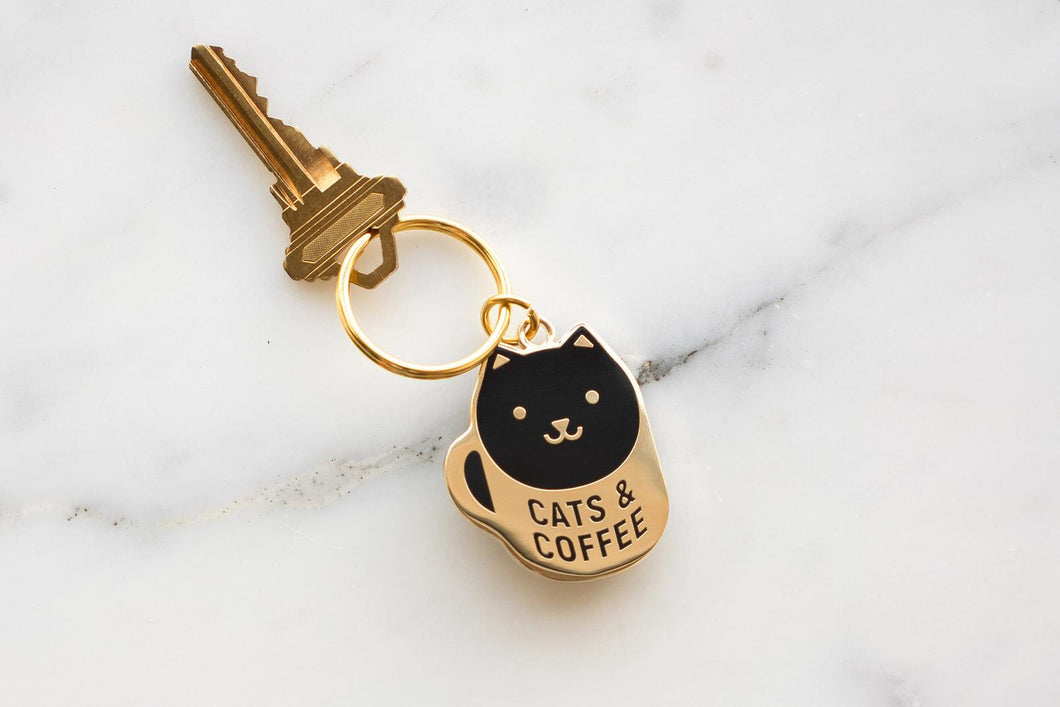 Coffee Cat Enamel Keychain