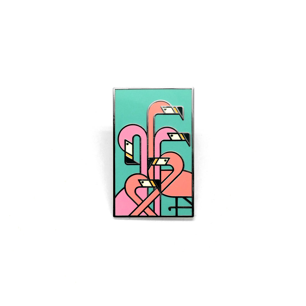 Art Deco Flamingos Enamel Pin