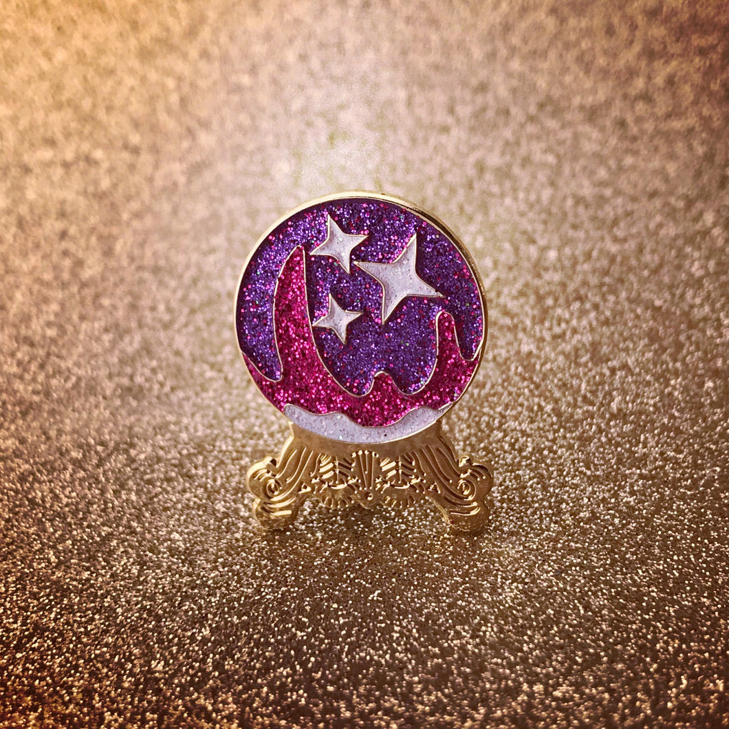 Crystal Ball Pin--Purple Emoji