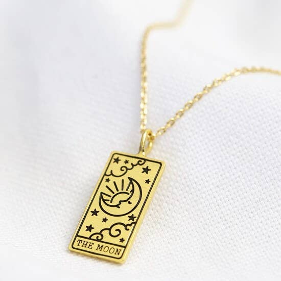 Gold The Moon Tarot Card Pendant Necklace