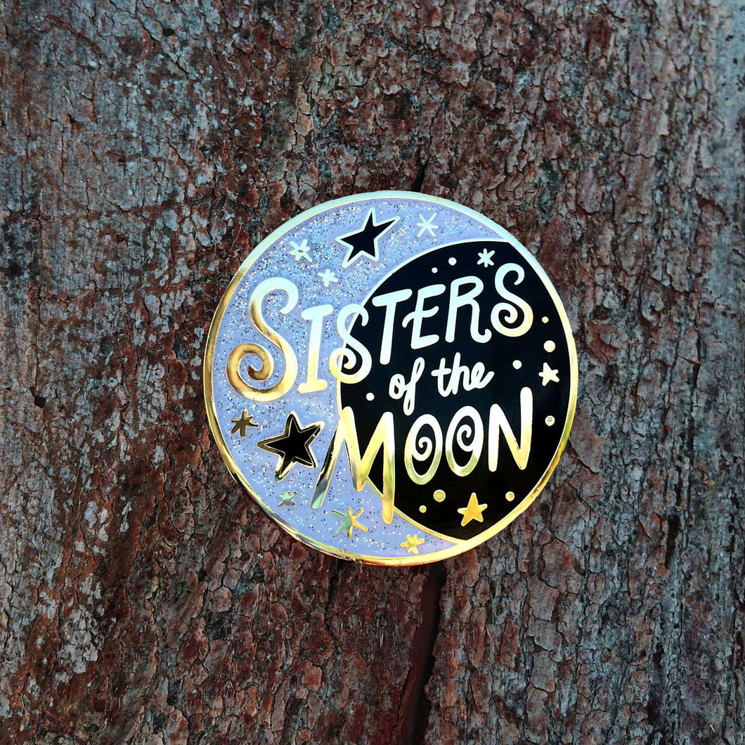 Sisters of the Moon Hard Enamel Cloisonne Glitter Pin