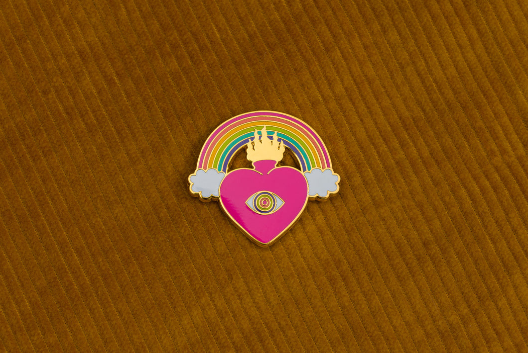 Rainbow Heart Tarot Hard Enamel Pin