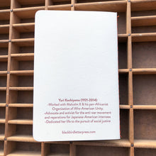 Yuri Kochiyama letterpress notebook
