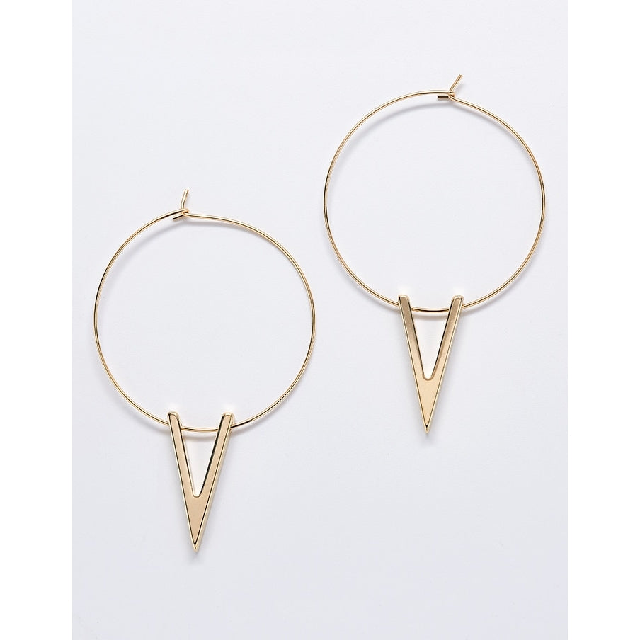 Gold V Hoop Earrings