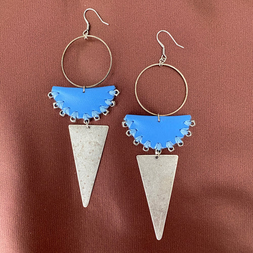 Blue Leather Earrings