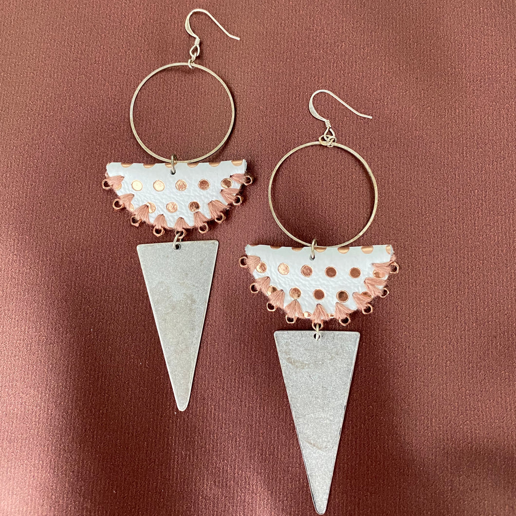 White + Rose Gold Metallic Leather Earrings