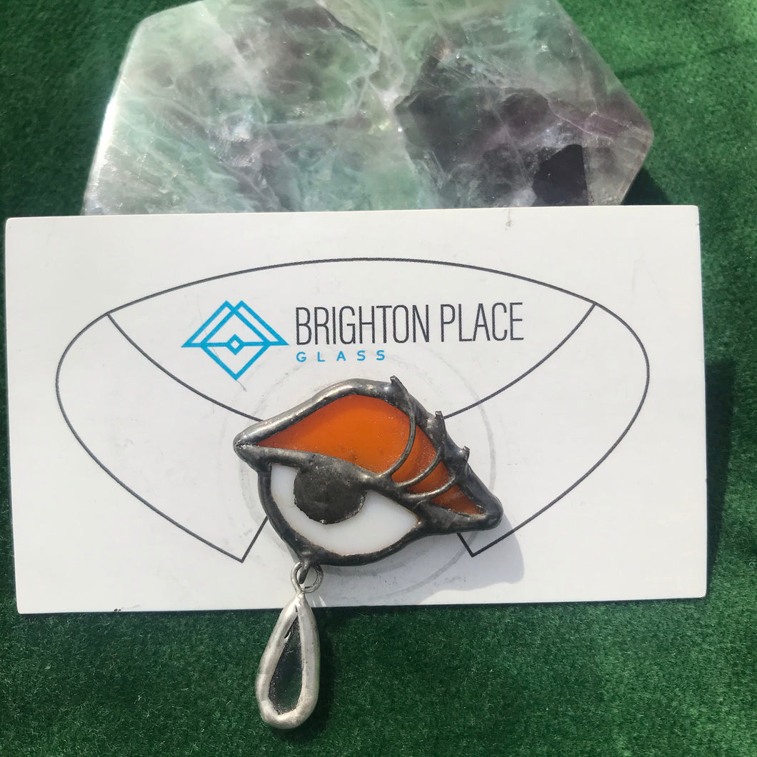 Orange + White Stained Glass Eye Brooch