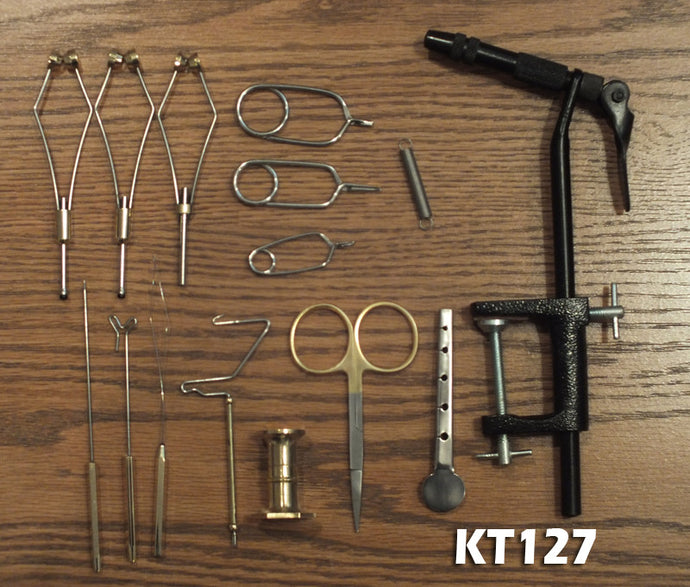 15 Pc Fly Tying Kit - AA Vise Ceramic Bobbins & Premium Scissors
