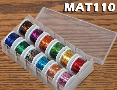 Fly Tying Tinsel - 12 Spools - Assorted Colors in Dispenser Box