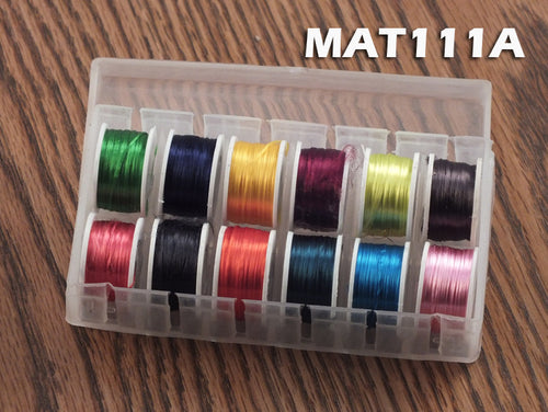 Fly Tying Floss - 12 Spools - Assorted Colors in Dispenser Box