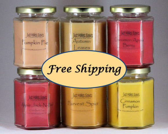 Autumn Candle Value Pack (Autumn Leaves, Apple Jack-N-Peel, Pumpkin Pie, Cinnamon Pumpkin, Harvest Spice, & Cinnamon Apple Berry )