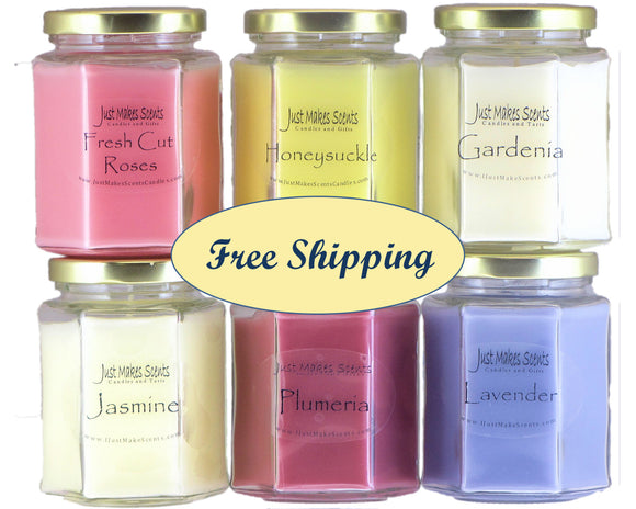 Spring Candle Value Pack with FREE SHIPPING - Fresh Cut Roses, Honeysuckle, Gardenia, Jasmine, Lavender & Plumeria