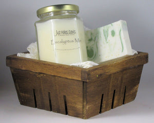 Relaxing Pack- Eucalytpus Mint Oatmeal and Shea Butter Soap and Soy-Blend Candle