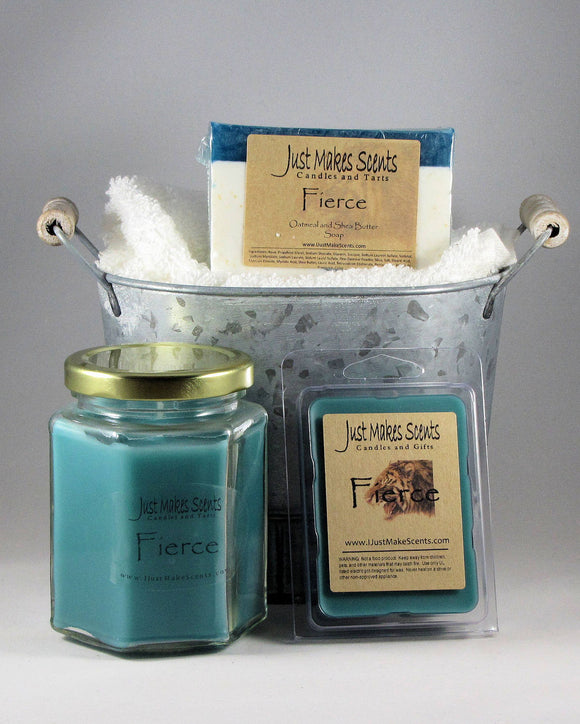 Ultimate Man Pack- Fierce Oatmeal and Shea Butter Soap; Soy-Blend Candle; and Tart