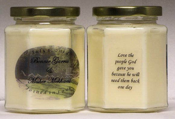 Personalized Wedding Candles - Wedding Favors - Bridesmaid Gifts -  Blended Soy Candle - Custom Label Candles - Volume Discount Pricing