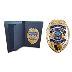 Concealed Weapons Permit  Gold Metal Badge & Permit Wallet