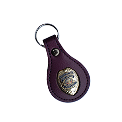 Gold Concealed Weapons Permit Metal Badge Purple Leather FOB Smart Keychain