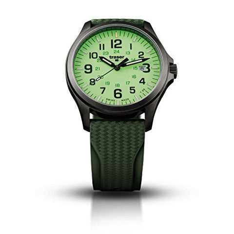 traser H3 Lime P67 Officer Pro Gunmetal Watch | Rubber Strap - Green