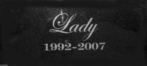 "6"" x 12"" Name Date Pet Memorial GRANITE Grave Marker Stone With No Border Blank"