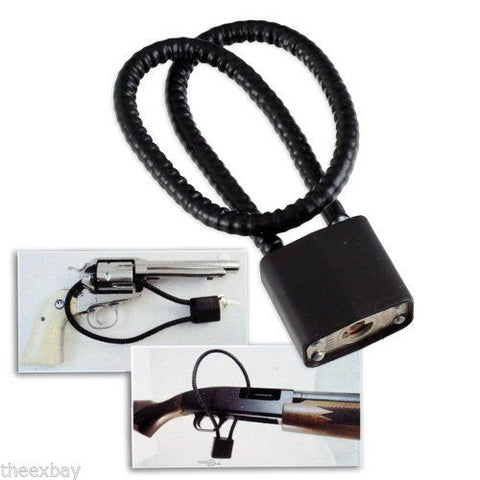 "Universal 15"" Keyed Safety Gun Lock Cable - Fits Pistols, Rifles, Shotguns"
