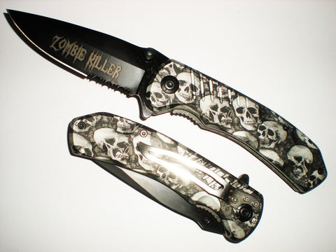 BLACK Skull ZOMBIE KILLER GRIP HANDLE ASSISTED OPENING RESCUE POCKET KNIFE