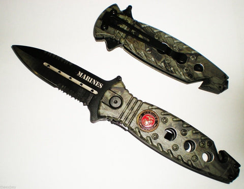 "8"" CAMO MARINES Rescue SPEAR POINT BLADE Assisted Opening Pocket Knife With Glas"