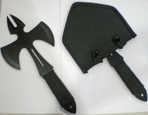 A SINGLE BLACK TACTICAL Throwing Axe AX STAINLESS STEEL With Sheath WICKED!