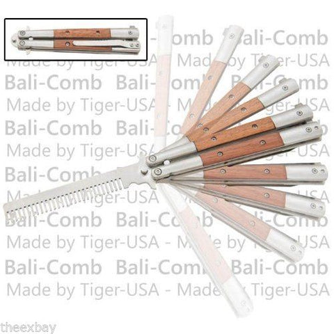 Wood Bali-Comb Practice BUTTERFLY COMB STAINLESS Knife Trainer Fly Balisong