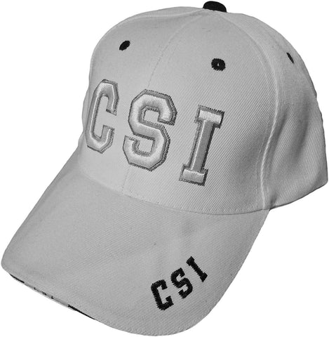 CSI White Embroidered & Adjustable Cap Baseball Hat NEW
