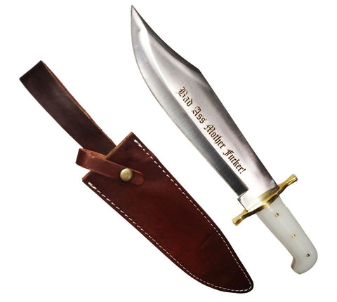 Pearl Bad Ass Mother F*cker! Hunting Bowie Survival Knife Military Blade +Sheath