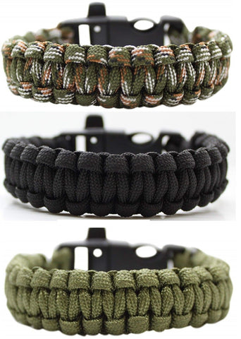 2pcs / Two Pack 550lbs Paracord Survival Emergency Bracelets & Whistle