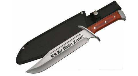 "16"" Bad Ass Mother F*cker! Hunting Bowie Survival Knife Military Blade + Sheath"