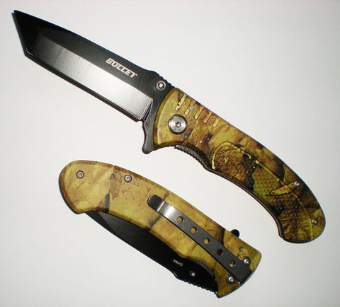 "7 3/4"" BLACK TANTO BLADE Assisted Opening Green CAMO Pocket Knife Grip Handle"
