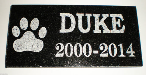"12"" x 6"" Name & Date Pet Memorial GRANITE Grave Marker Stone With Large Paw"