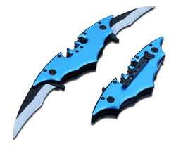 "11"" BLUE Dual Blade Spring Assist Double Bladed Knife +CASE Switch Bat Man"