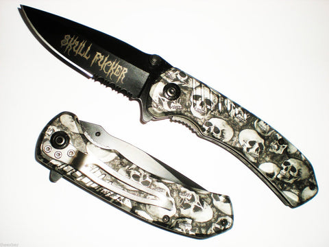 Black & White SKULL F*CK*R Grip Handle ASSISTED OPENING RESCUE POCKET KNIFE