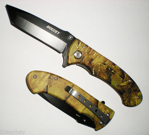 "7 3/4"" BLACK TANTO BLADE Assisted Opening Green CAMO Handle Pocket Knife"