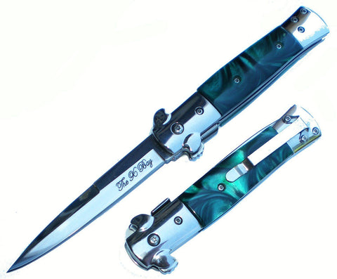 GREEN Handle Chrome Blade Michael Corleone SPRING ASSIST Godfather Pocket Knife