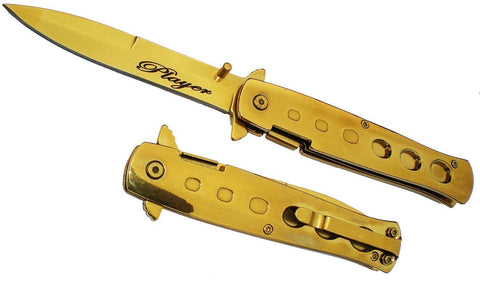 "9"" ALL GOLD Handle & Blade Michael Corleone PLAYER Milano Godfather Pocket Knife"