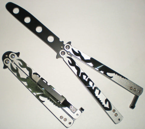 green and silver butterfly SCORPION trainer knife butter fly Balisong Ballisong